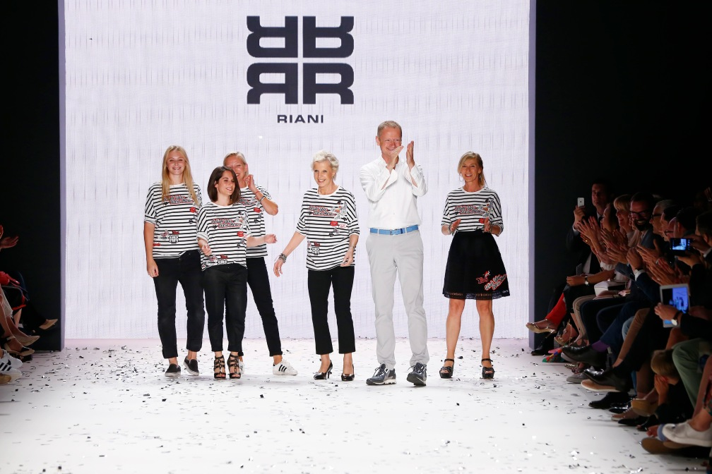 BERLIN, GERMANY - JUNE 28:  Designer Ulrich Schulte and models  acknowledge the applause of the audience at the Riani show during the Mercedes-Benz Fashion Week Berlin Spring/Summer 2017 at Erika Hess Eisstadion on June 28, 2016 in Berlin, Germany.  (Photo by Frazer Harrison/Getty Images for Riani) *** Local Caption *** Ulrich Schulte